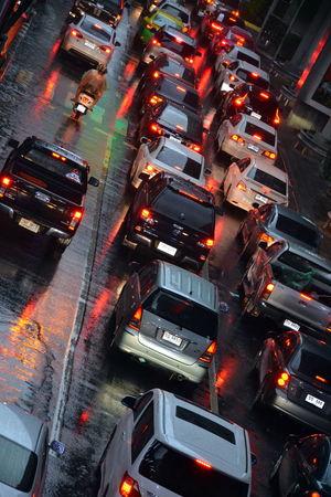 Bangkok Bangkok Thailand. Car Cars City Day High Angle View Illuminated Land Vehicle Motion No People Outdoors Road Traffic Traffic Jam Traffic Jam City Traffic Jam In Bangkok Traffic Jams