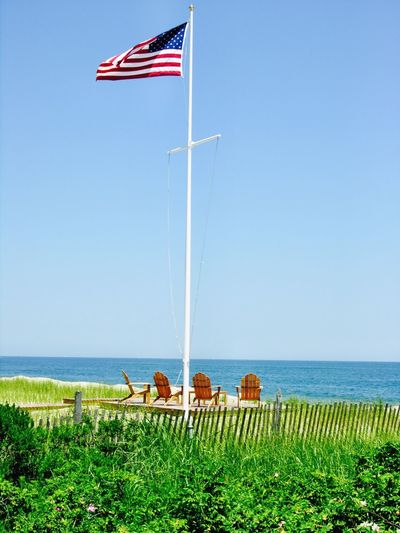 Flag American Flag Summer Beach Atlantic Ocean