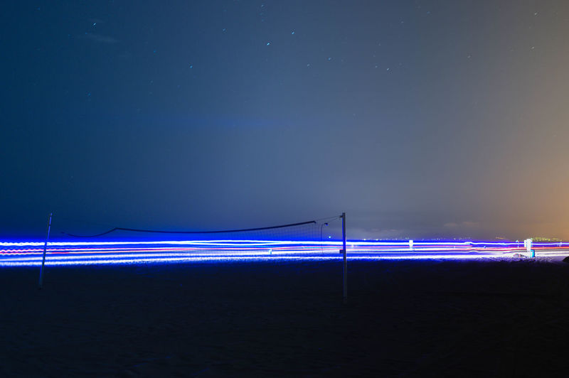 Ahuir Blue Cops Dark Light Trail Night Platja De L'ahuir Sea Sky Wave