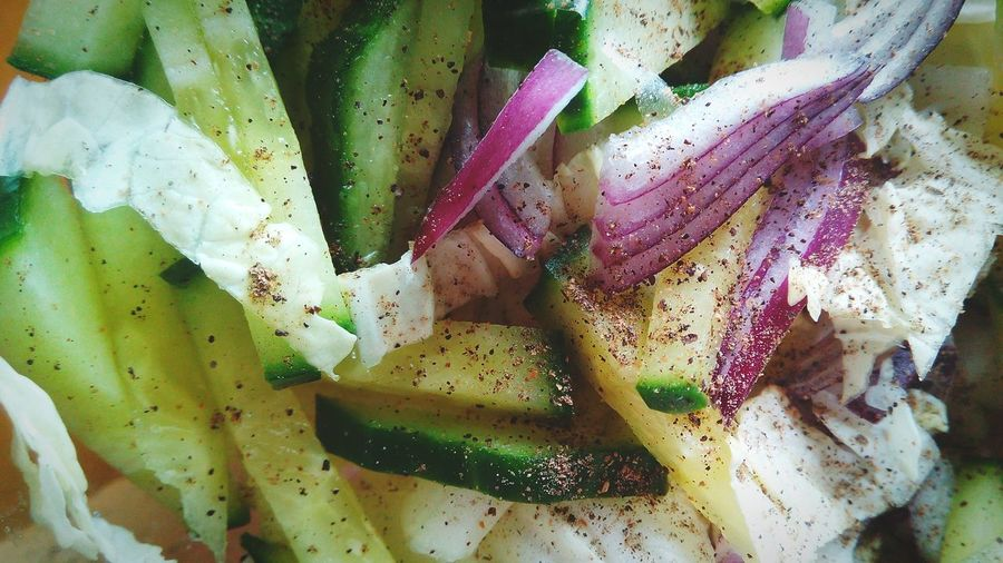 Close-up of cucumber salad