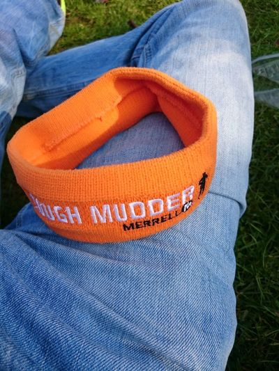 Relaxing after Tough Mudder 2017 South Germany Headband Tough Mudder Finisher Sports Obstacle Run Ocr Human Leg Blue Jeans High Angle View Close-up Textile Denim Cloth Stitching Bandage