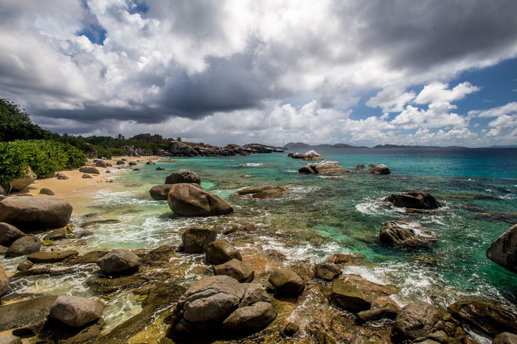 Virgin Gorda Beach Beauty In Nature Bvi Cloud - Sky Day Horizon Over Water Nature No People Outdoors Pebble Beach Rock - Object Rocks Scenics Sea Sky Tranquil Scene Tranquility Water Waterfront