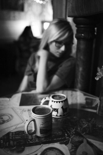 Lindsay and I enjoying Coffee . This is a UNPOSED and Candid photo. Bokeh Portland Coffee Shop Leicacamera Blackandwhite