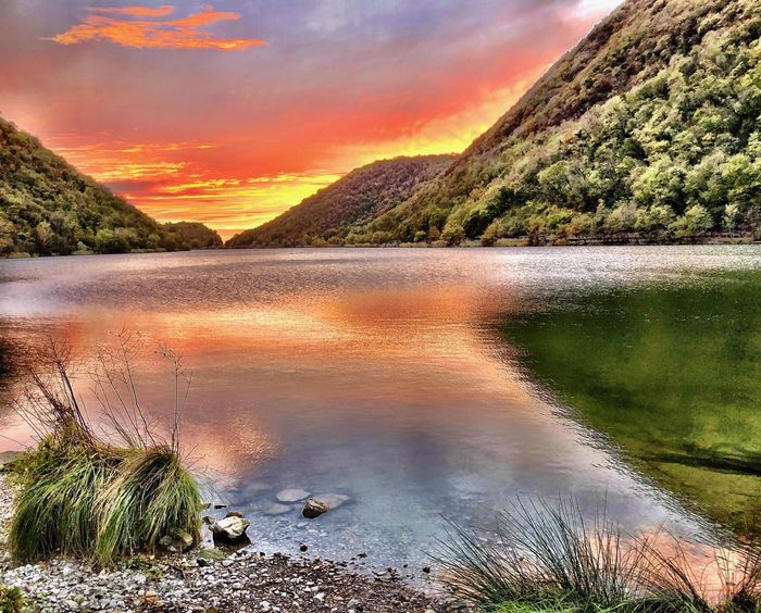 Lago del Segrino Scenics - Nature Water Sky Sunset Beauty In Nature Tranquil Scene Tranquility Cloud - Sky No People Nature Tree Non-urban Scene Idyllic Plant Orange Color Lake Remote Mountain Land