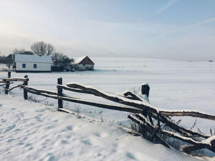 Село, зима,