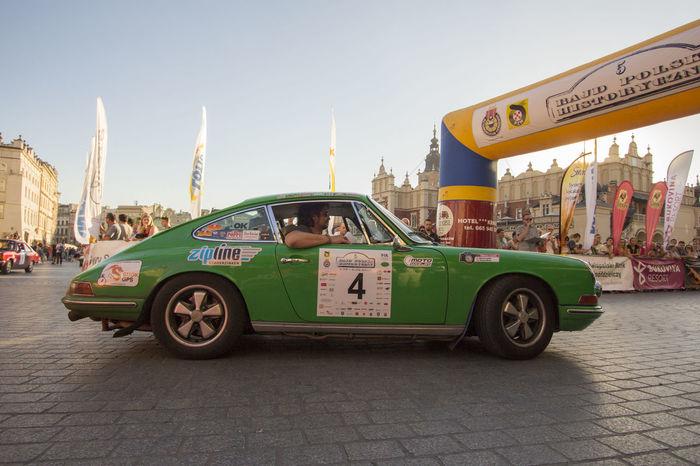 Porsche 911 City Outdoors Green Krakow Crakow Rally Car Race