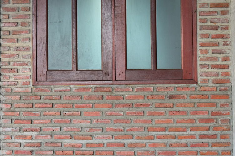 Brick Wall Wood Architecture Built Structure Day Glass No People Outdoors Windows On The Wall As Background