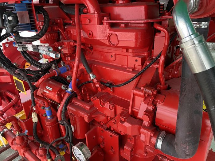 Close-up of red machinery in factory