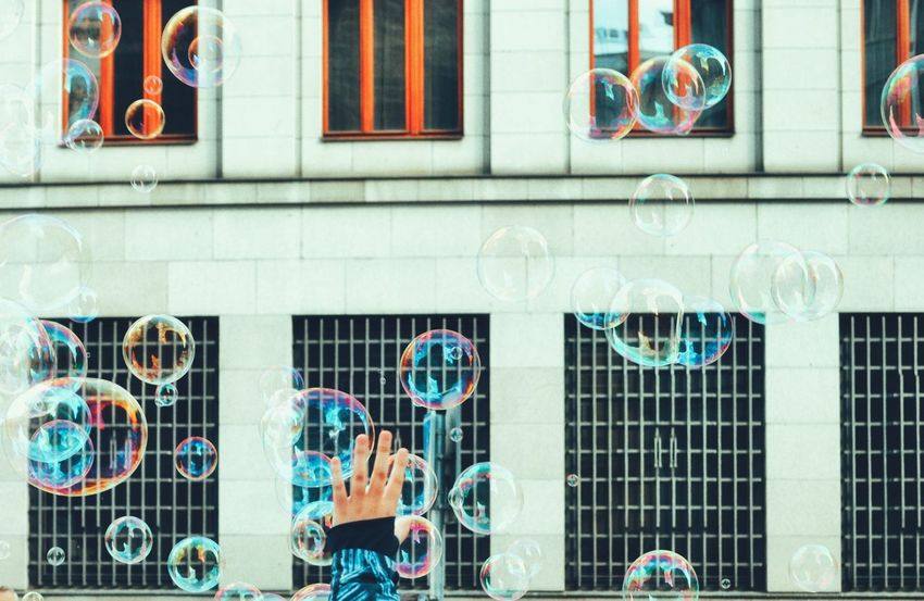 Bubbles Enjoying Life Capture The Moment Capturing Freedom Freedom Multi Colored Hand Children Only Childhood Childhood Memories City Street Streetphoto Outdoors Live For The Story Place Of Heart Simplicity Minimal Large Group Of Objects The Street Photographer - 2017 EyeEm Awards