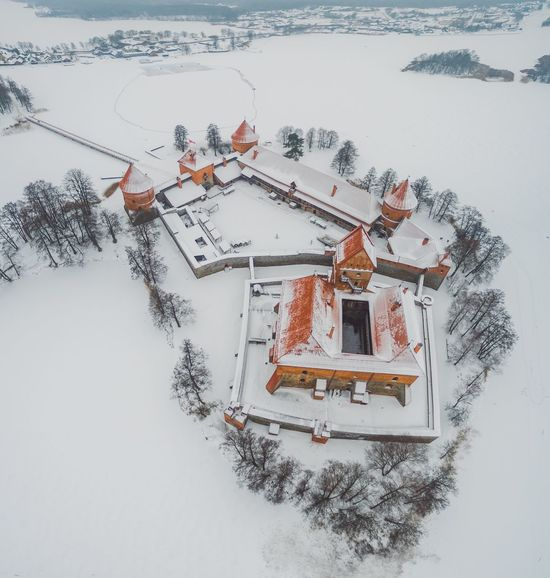 Trakai Island Castle | Winter Snow Cold Temperature High Angle View Weather Nature Outdoors Day Building Exterior Frozen Built Structure Architecture Ice Beauty In Nature Sky Extreme Weather Drone  Aerial Photography Phantom 3 Phantom 3 Advanced Lietuva Baltic Countries Ancient Architecture