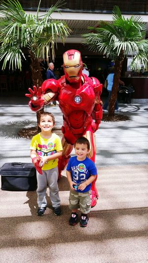 The boys meeting one of thier favorite superheroes. Quality Time Superheroes The Avengers Ironman My Sons Taking Photos Enjoying Life