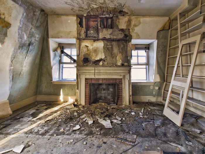 Interior of abandoned mansion