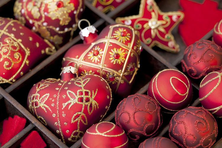 Full frame shot of red shiny christmas ornaments