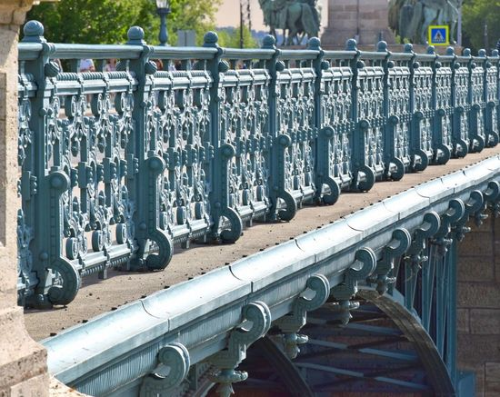 Architecture Art And Craft Art And Craft, Bridge Day Engineering Forged Iron Grid Handrail  In A Row No People Old Outdoors Railing Repetition