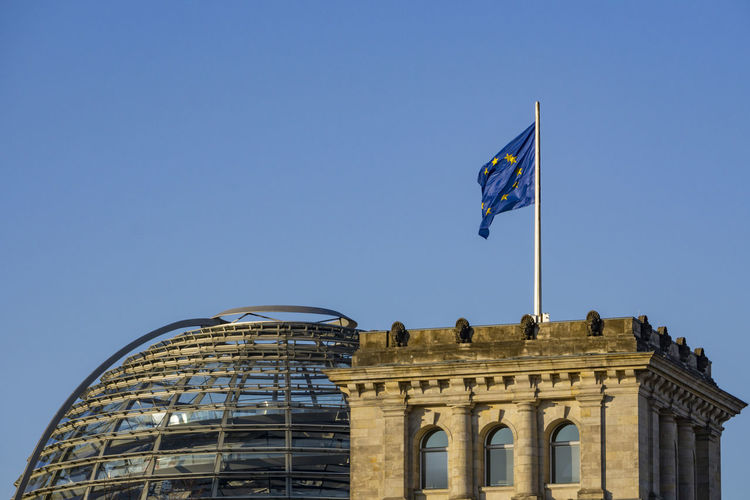 Eu Flag on Top of Reichstag Berlin Germany 🇩🇪 Deutschland Horizontal Outdoors Color Image No People Flag Sky Reichstag Building Glass Dome Eu Flag Built Structure Architecture Famous Place Building Exterior Clear Sky Environment National Icon Blue Day Copy Space Low Angle View Eu Flying Wind