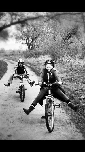 Need For Speed Racing Family Bikes Life Is For Living Life Is A Journey Peddling No Feet Country Road Countryside Cycling Bnw Black And White Photography Bnw_collection Girl Power On The Way Adventure Club