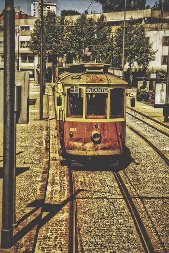 Portugal Porto Tram Transportation Travel On The Way Special👌shot with Special Effect Travel Photography 43 Golden Moments, Taking You On My Journey 😎 Old But Awesome Porto City No People Streetphotography FROM 2014 !!!!!!