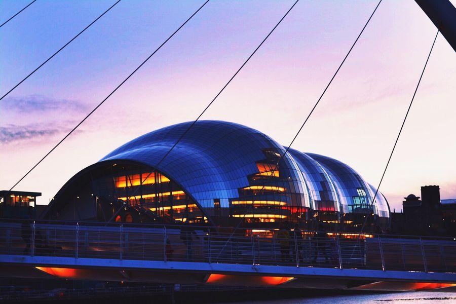 Newcastle Upon Tyne Newcastle City Bridge The Sage The Sage Gateshead Sunset