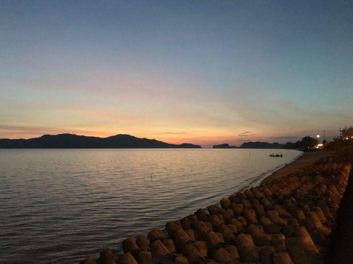 Sunset Water Nature Outdoors Sky Mountain Sea