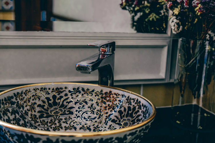 High angle view of tea cup on table at home