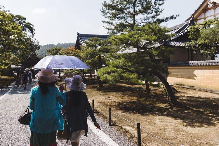 Rear view of women walking in front of building