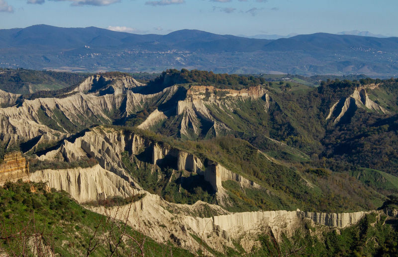 Remote view of the valley of the badlands,civita di bagnoregio,italy