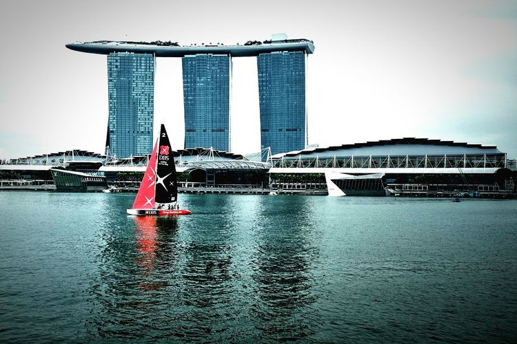 City sailing. Travel Travel Destinations City Water Cityscape Outdoors Skyscraper Urban Exploration Singapore City Life City Cityscape Business District Tourism Sailing Sailboat Marinabaysands Casino Neighborhood Map