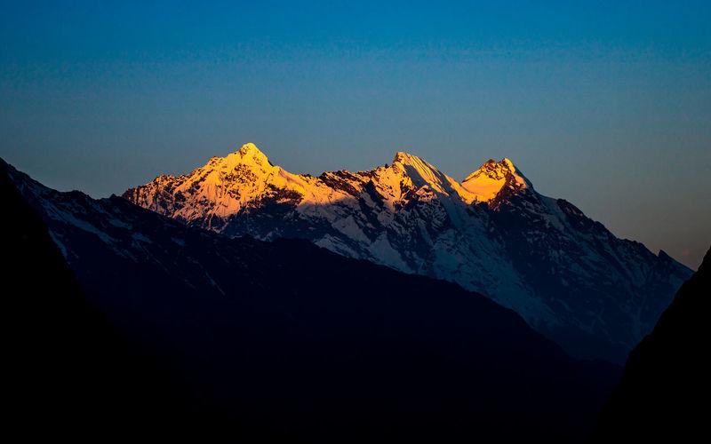 Beautiful sunrise over the mount ganesh himal range at gorkha, nepal.