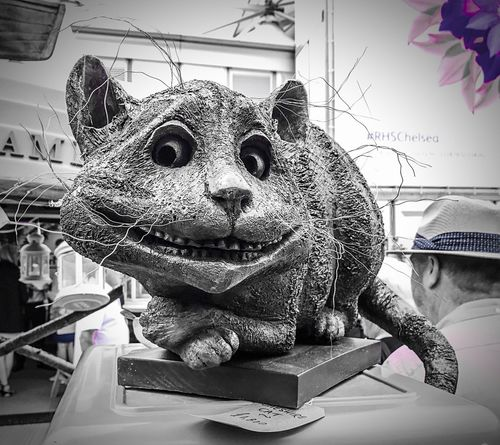 Who doesn't love the Cheshire Cat? Animal Representation Indoors  Animal Themes Built Structure Mammal No People Close-up Day Sculpture Cat Smiling Cslewis