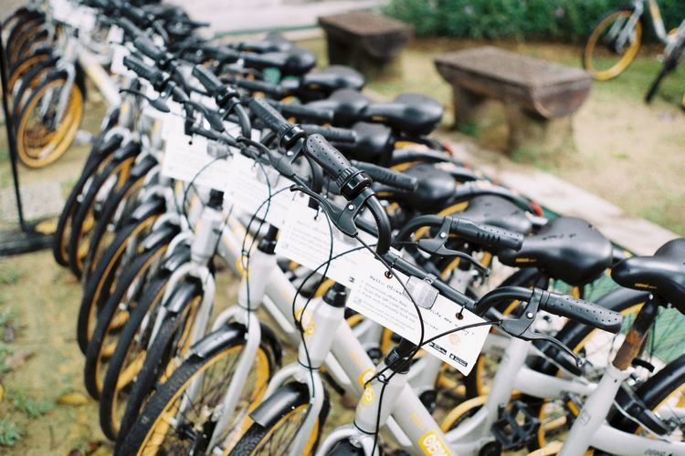 Close-Up Of Bicycles Parked At Rack