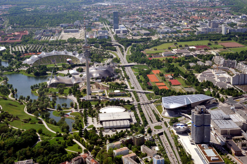 Aerial view of olympic park in city