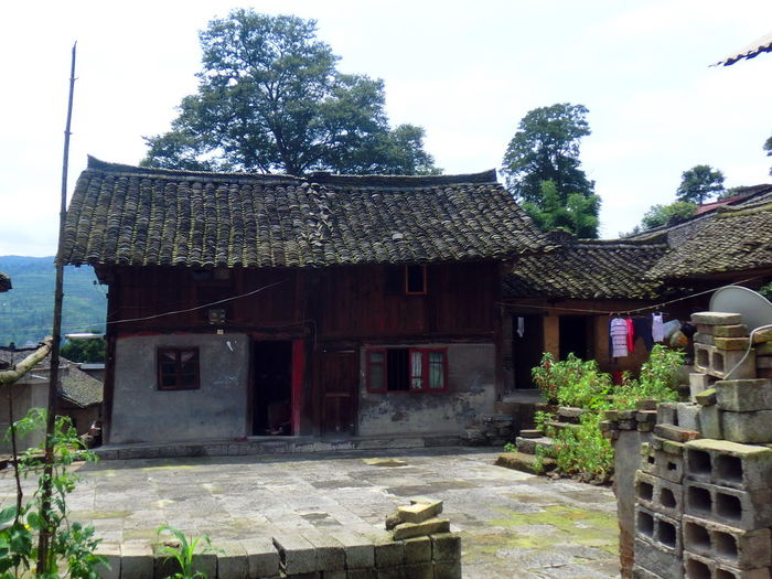 More than 100 years old huts using bamboo and crane work for walls. China, Chairman Mao used to stay here to organised troops during the Japanese wartime Architecture Built Structure Centurycity Heritage Building Heritage Site Huts Mao Tse-tung China,Guizhou Residential Structure