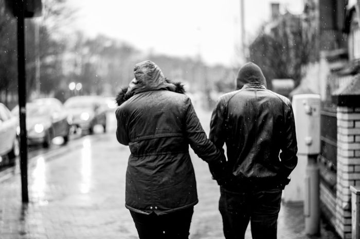 Winter Love. Adult Adults Only Couple Day Focus On Foreground Friendship From The Back Love Outdoors People Rain Real People Rear View Togetherness Two People Walking Connected By Travel