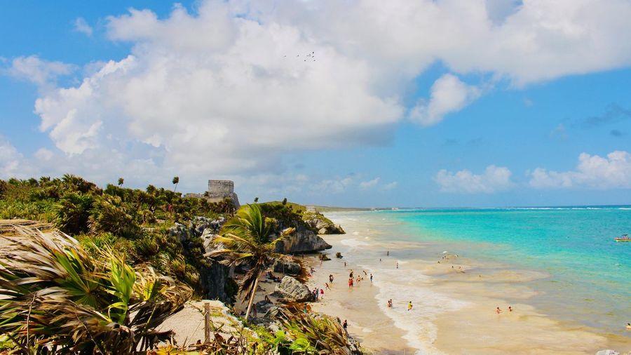 Sea Water Sky Beach Cloud - Sky Land Scenics - Nature Beauty In Nature Horizon Horizon Over Water Tranquil Scene Nature Architecture Tulum , Rivera Maya. Mayan Ruins Archeology Turistic Places