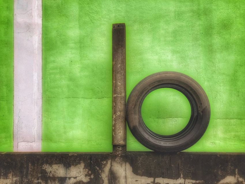 Wheel on the wall Wheel Green Color No People Wood - Material Directly Above Indoors  Household Equipment 10 Green Circle