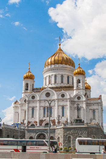 Moscow Russia The Cathedral Of Christ The Savior Architecture Cloud - Sky Day History Low Angle View Religion Sky Travel Destinations