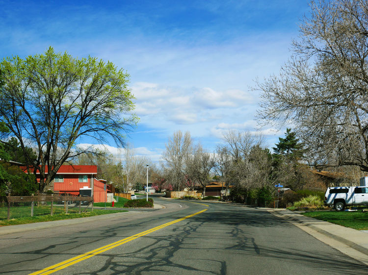 A lovely sunny day at a small village in Lakewood, Colorado, USA Bright Sky Colorado Lakewood Sunny USA USAtrip United States Colorful Empty Peaceful Small Village