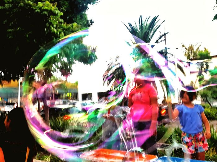 bubbles 2 Big Bubble Kids Playing Kids Being Kids Park Water Tree Multi Colored Sky