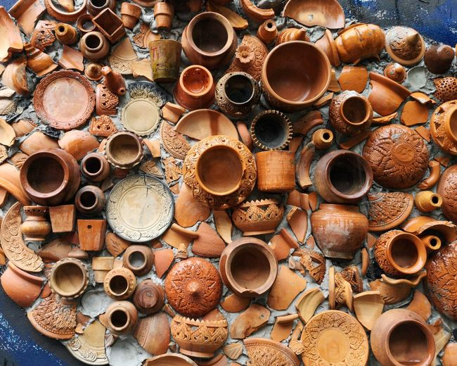 High angle view of broken pots