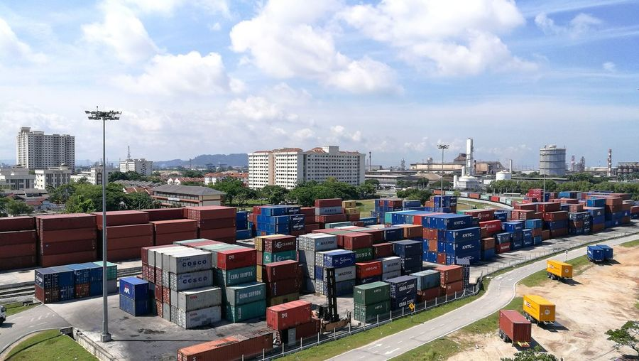 Container Terminal Container Port Blue Sky Good Weather