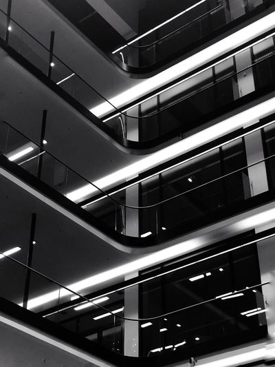 Architecture Indoors  Built Structure No People Lighting Equipment Illuminated Technology Pattern Still Life Rack Ceiling In A Row Connection Building Steps And Staircases Modern Railing Low Angle View My Best Photo