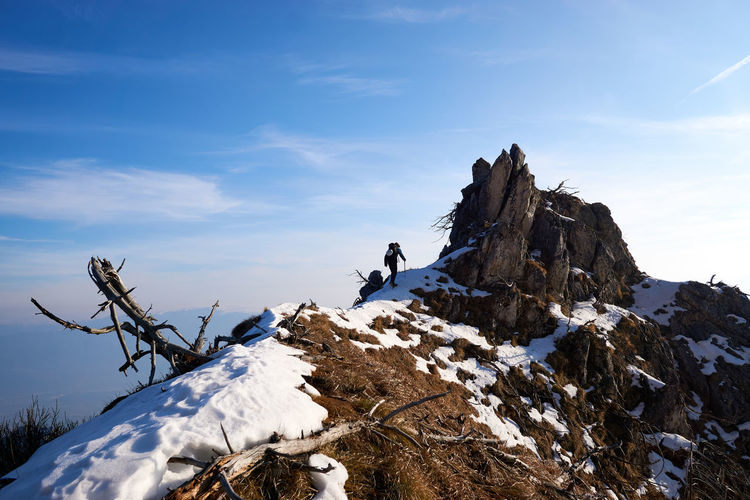 Walking along the ridge connecting Pala Pedavena to Mt. Pafagai. Clear Sky Dolomites, Italy Feltre Grass Mountaineering Shades Of Winter Sky And Clouds Tree Trunk Winter Adventure Beauty In Nature Cold Temperature Landscape Mountain Pedavena Snow Go Higher
