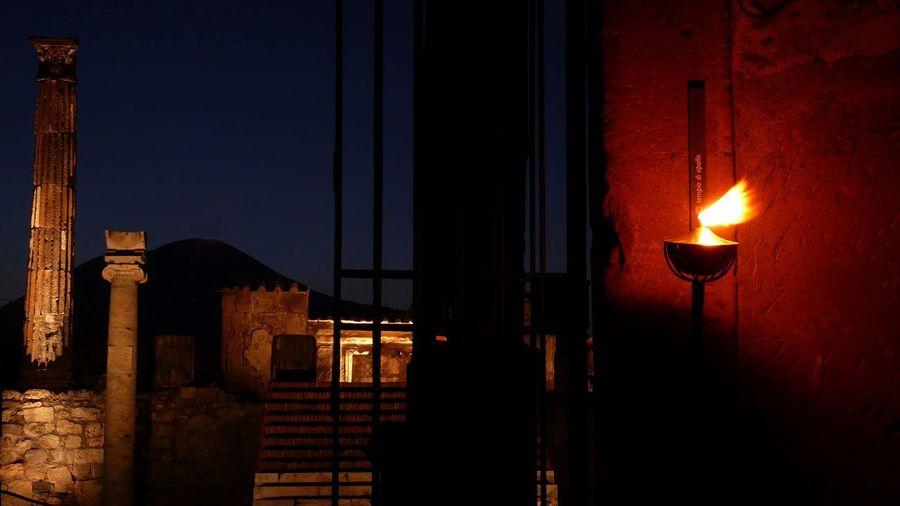 Pompei Scavi Burning Flame Illuminated Napoli Napoliphotoproject Napolipix Night Nightphotography No People Outdoors Pompei. Archeologia Pompeii  Pompeii Ruins Pompeiscavi