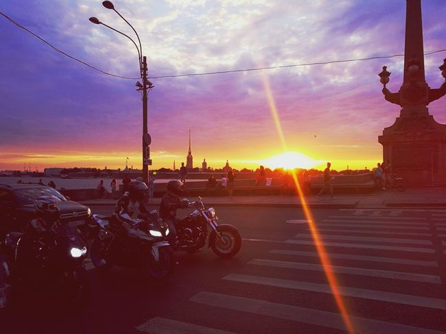 City Sunset Motorcycle Road Land Vehicle Multi Colored Sun Sky Cloud - Sky Vehicle