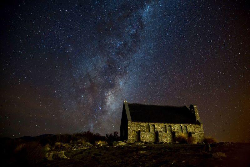 Another night at Lake Tekapo Architecture Night Star - Space Low Angle View History Astronomy Milky Way Nightphotography Landscape_photography Best EyeEm Shot Lake Tekapo, New Zealand Magnificent New Zealand Starry EyeEm Selects The Great Outdoors - 2018 EyeEm Awards