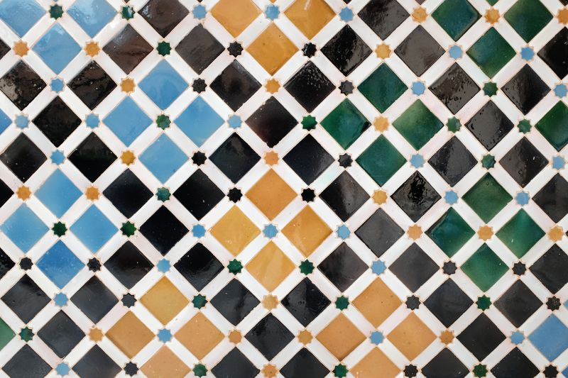Backgrounds Black Color Blue Close-up Day Design Fence Flooring Full Frame Indoors  Metal Multi Colored No People Pattern Repetition Shape Textile Textured  Tile White Color