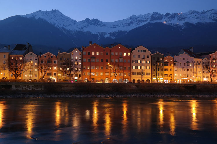 Architecture Built Structure City Colours Illuminated Mountain Nature Nature And City Night Lights Night View No People Outdoors Reflection River Sky Town Travel Destinations Water Waterfront Colour Of Life
