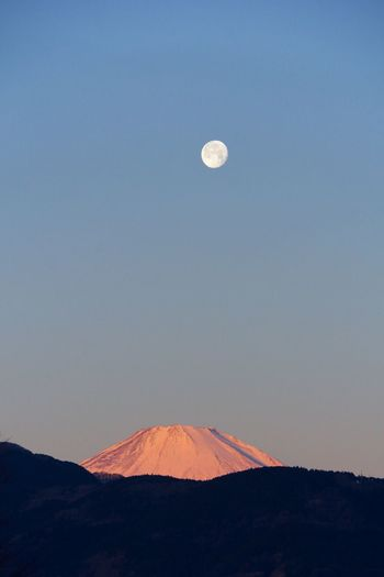 Mount Fuji Against Sky At Dusk