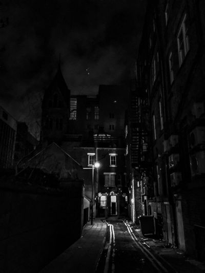 Urbanphotography Urban Blackandwhite Architecture Built Structure Building Exterior Street Road The Way Forward EyeEm Ready   Illuminated Transportation No People City Outdoors Sky Night Streetwise Photography