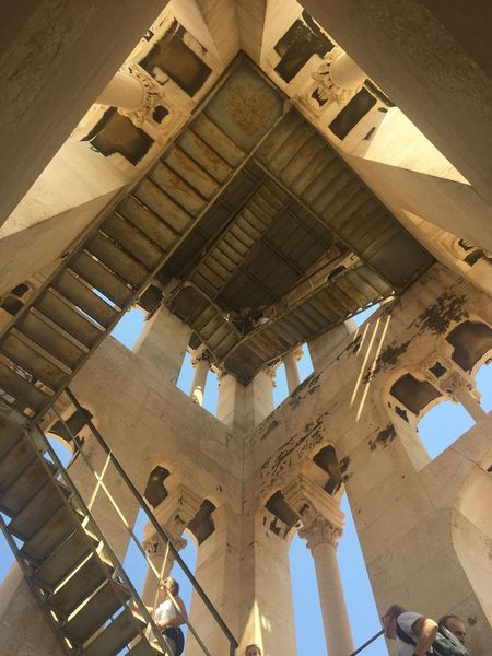 Inside Split belltower. Looking up, like an Escher paint Spalato Indoors  Belfry Architecture_collection Dalmatia Steps And Staircases Steps stairways Staircase Croatia Nobody Column EyeEm Selects Looking Up Architecture Bell Tower Belltower Split Escher Day No People Window